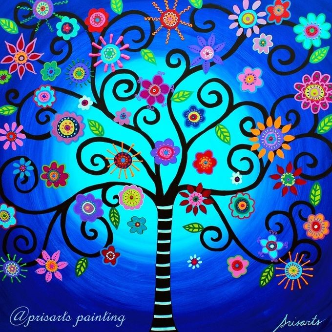 MAKE 100 Tree of Life Paintings Moore's Tree of Life  Some themes that are also popularly followed by my collectors are: Dia delos Muertos (Day of the Dead),Flowers and Blooms, Owls, Hamsa, Mexican themes and Beach themes.