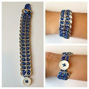 Brand-New-Upcycled-Pop-Tab-Bracelet-Blue-White-Polka-Fashion-Jewelry-Very-Cool