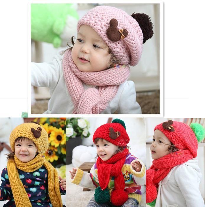 Вязание Девушки Шляпы шарф наборы для Мальчиков Чулок Hat новорожденных крышка Дети Шерсть Шапочка Ребенок зимняя шапка Крючком snapback Ведро бонет