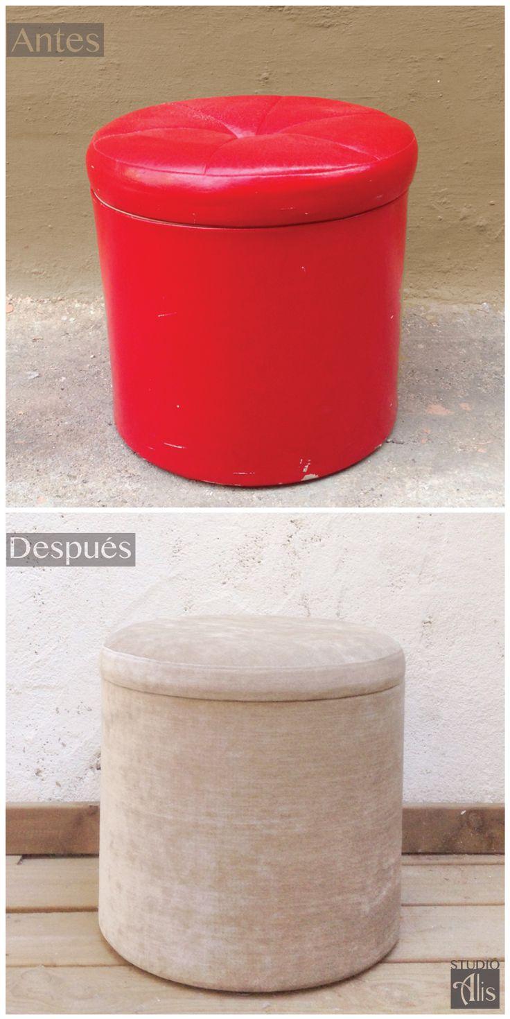 antes y después. Un puf de sky rojo  retapizado de terciopelo tono arena. Studio Alis - Barcelona