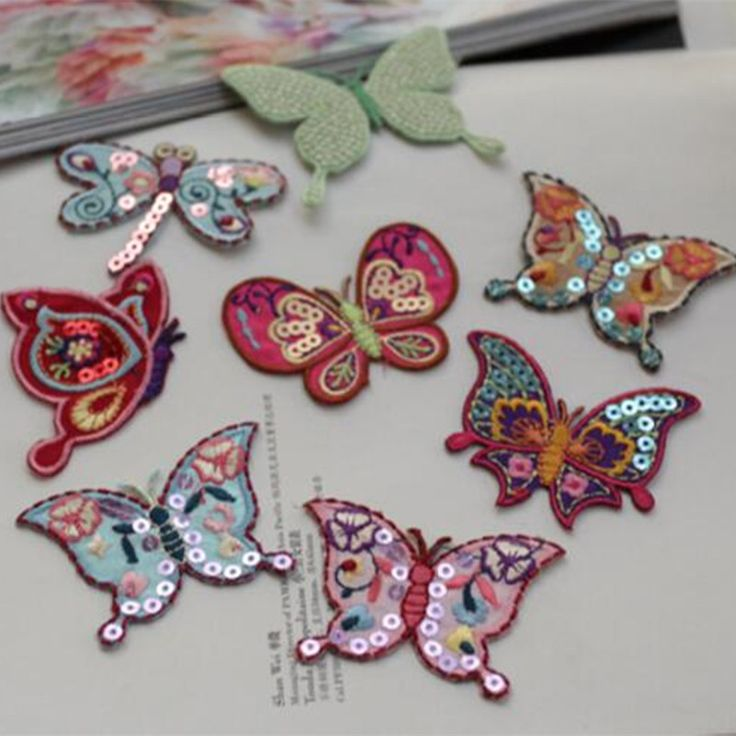 Hot selling 5pcs/lot Sequin Butterfly patch applique embroidery flower patches Decorative embroidery #Affiliate