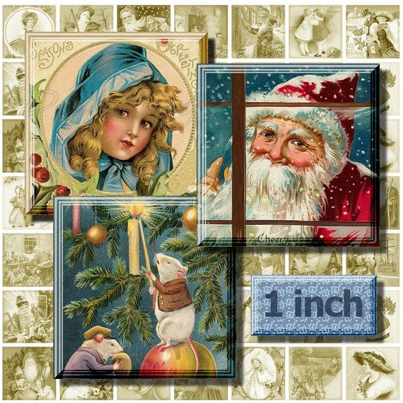 Printable Christmas Scenes, Digital Collage Sheet, 1 inch Squares, Vintage Christmas Postcards, Old Digital Holiday Images, Instant Download