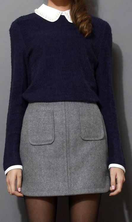 Navy jumper with white peter pan collar and grey wool-felt mini skirt