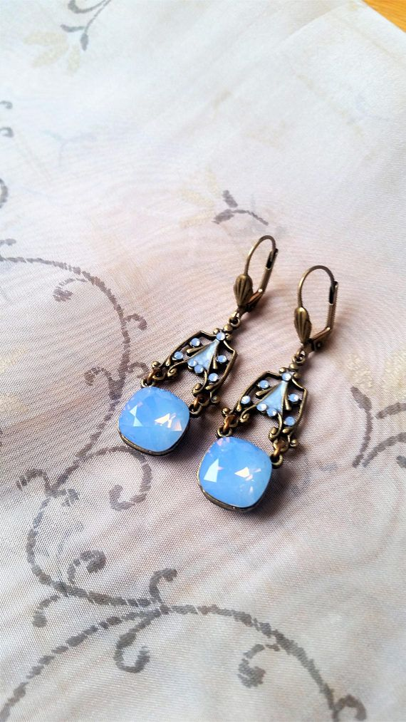 Vintage Victorian Moonstone brass earrings  double Moonstone