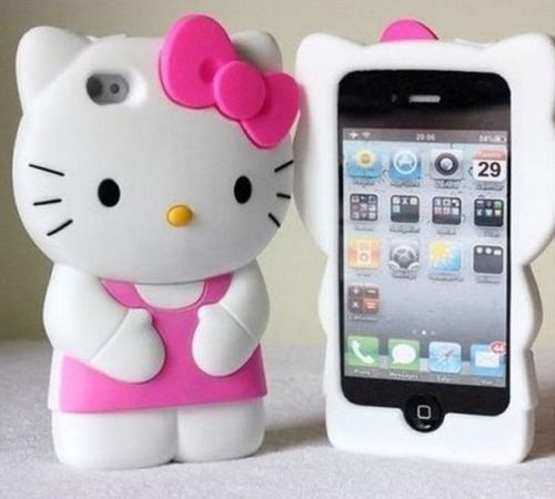 free shipping 0b5d0 e5e26 3D Cute Soft Silicone Hello Kitty Case Cover Skin Back Skin for ...