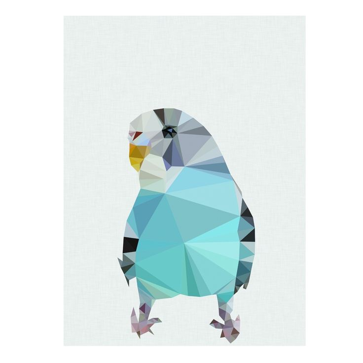 Geometric budgie art print - Wall Allure via hardtofind $20.00