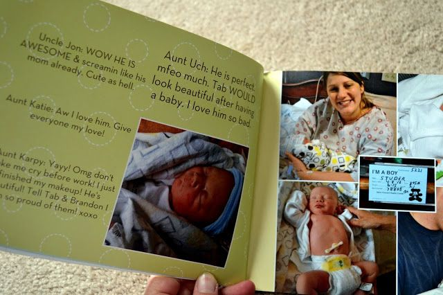 "Take all pics, texts, cards, etc from the day baby was born and put them into a photo book that turns the hospital stay into a ""the story of my arrival"" book."