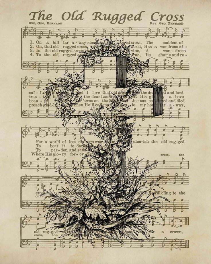 Influential image intended for old rugged cross printable sheet music