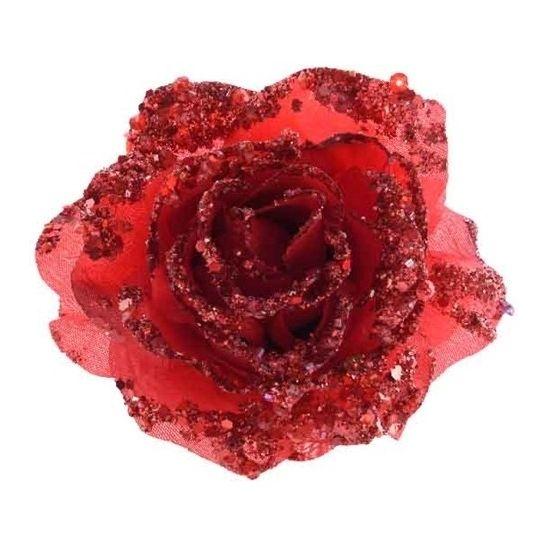 Rode glitter roos met clip. Rode roos voor bijvoorbeeld in de kerstboom. Formaat: 14 cm.