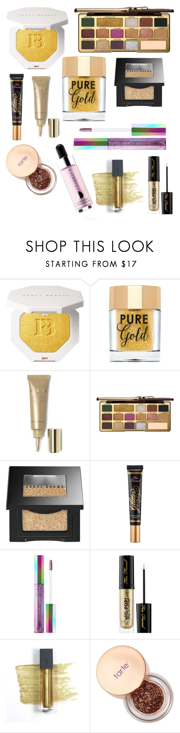 """#PolyPresents: Sparkly Beauty"" by fashion0203 ❤ liked on Polyvore featuring beauty, Too Faced Cosmetics, Stila, Bobbi Brown Cosmetics, Puma, Sephora Collection, Bite, Cover FX, contestentry and polyPresents"