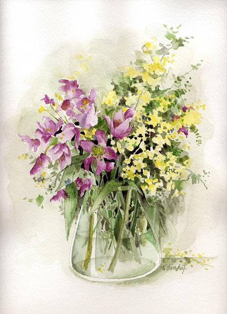 nice flowers in watercolor