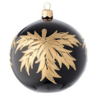 Palla nera in vetro con foglie oro 100 mm   vendita online su HOLYART