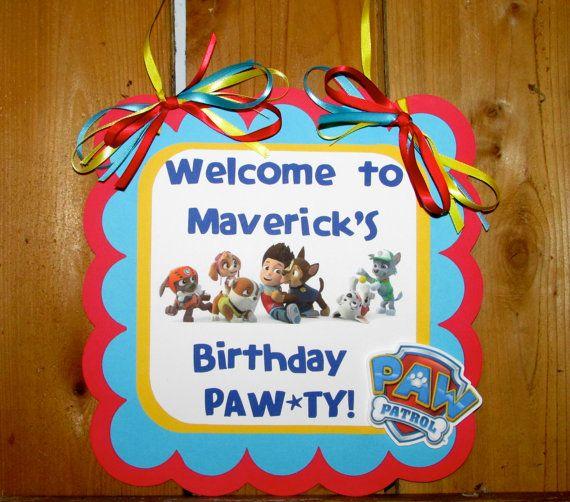 Paw Patrol Birthday Party Door Sign Hanging Door sign on Etsy, $11.00