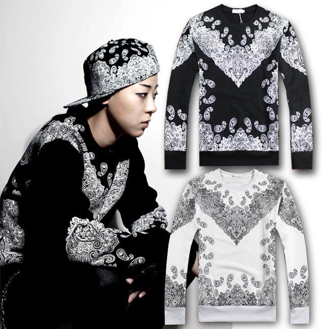 2015 Осень Зима женщин/мужчин пирекс Пейсли бандана футболка хип хоп уличный кобель о-образным вырезом длинный-рукав толстовок толстовки sportsuit
