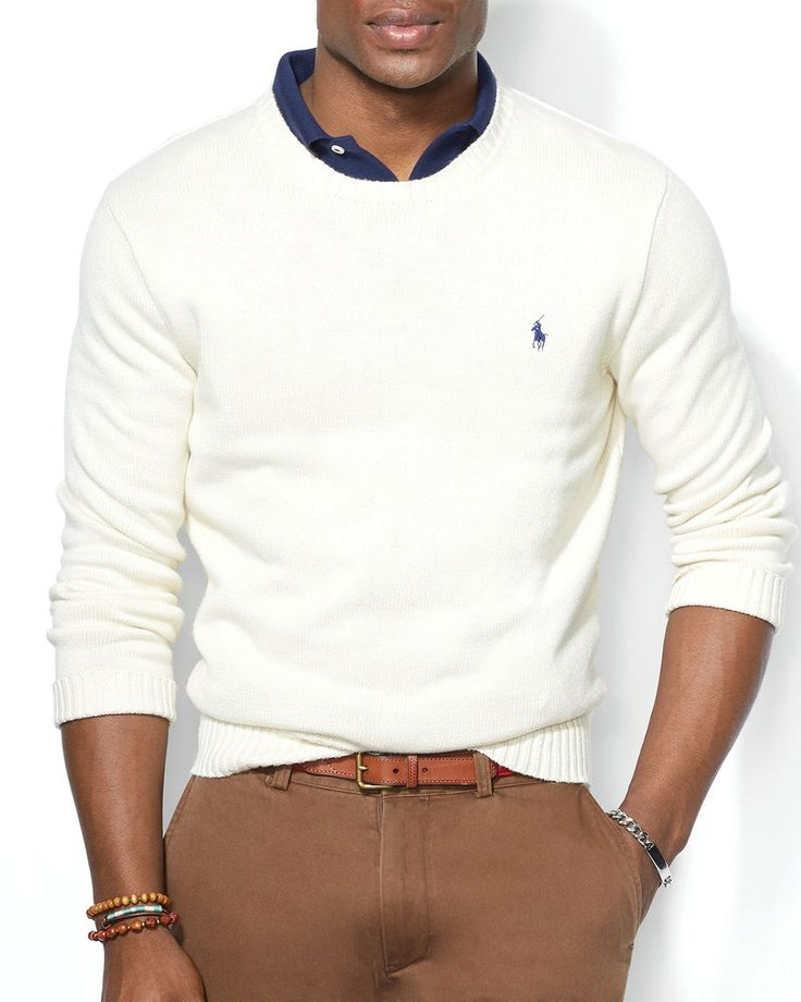 Die: Lightbrown Chinos + Cream Sweater + Navy Polo