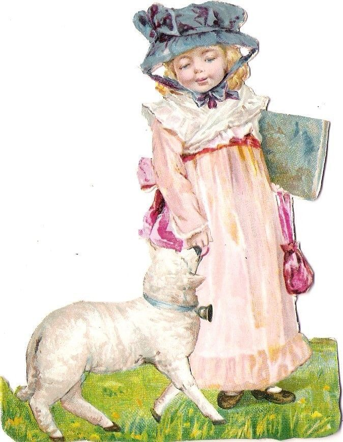 Oblaten Glanzbild scrap die cut chromo Kind child Lamm lamb girl Buch book fille