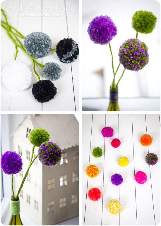 Pom pom flowers - by Craft & Creativity http://craftandcreativity.com/blog/2013/01/30/pompomflowers/