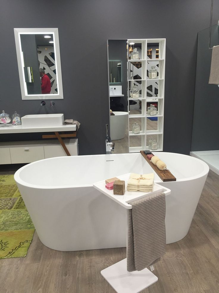 Contemporary standalone bathtub and accessories from Moma Design