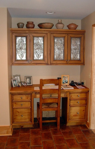 Rustic Wood and Tin Home Office In A Closet