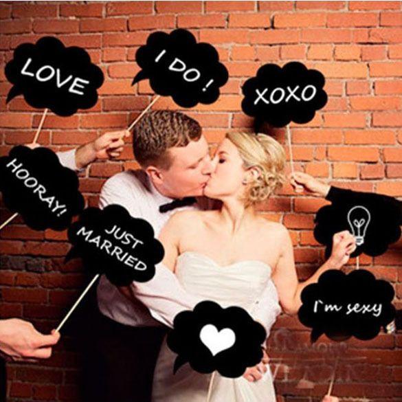 neue 10 stück photo booth prop DIY blase Rede kreidetafel Hochzeitsgesellschaft photobooth mgo3