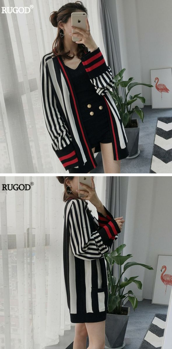 Jessica Simpson Clothing: RUGOD 2017 New Striped knitted Cardigan Female patchwork Sleeve Cuff V Neck Slim Sweater Women 2017 Fashional Winter Jacket Tops
