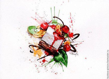 """Натюрморт ручной работы. Ярмарка Мастеров - ручная работа. Купить Картина акварелью """"Взрыв вкуса"""". Handmade. Картина, картина в интерьер"""