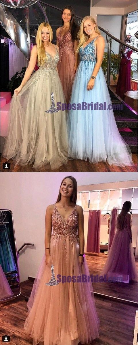 V-Neck Sequin Tulle Most Popular Pretty Gorgeous Shining Fashion Prom Dresses, Sexy Evening dress, PD0665