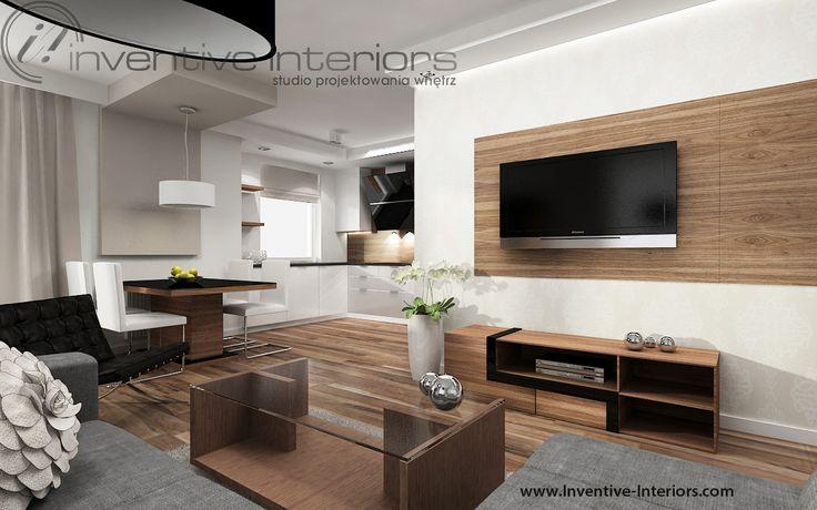 Projekt salonu Inventive Interiors - pomysł na ścianę z tv