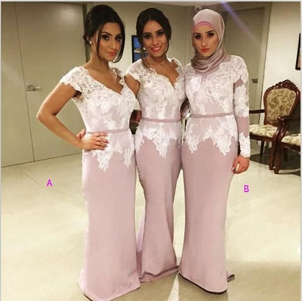 2016 Charming Bridesmaid Dresses Cap Sleeves Muslim Mermaid Vestido Wedding Formal Evening Party Dresses V Neck Lace Appliques Modest Bridesmaid Dresses Under 100 Patterns For Bridesmaid Dresses From Toprated, $98.96| Dhgate.Com