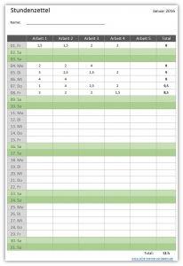 Die Excel- oder Open-Office Vorlage Stundenzettel dient zur einfachen und übersichtlichen Erfassung deiner Arbeitsstunden.  Für jeden Monat eines Kalenderjahres steht ein separates Arbeitsblatt zur Erfassung der Stunden zur Verfügung. Pro Tag kann die Arbeitszeit von bis zu 5 Aufgaben erfasst werden.