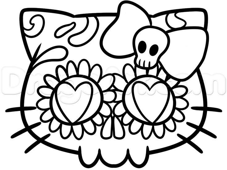 hello kitty sugar skull drawing lesson step 5