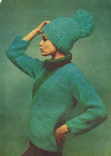 Blue knitted hat with enormous pompom from 1964.