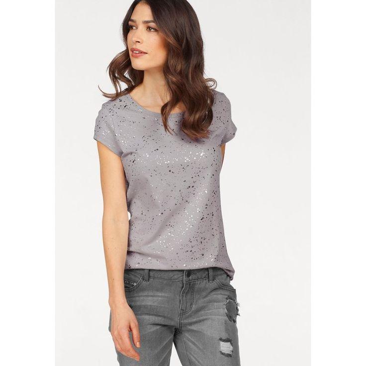 T-shirt imprimé paillettes couleur argenté manches courtes. Disponible en coloris Nude également - 3 Suisses