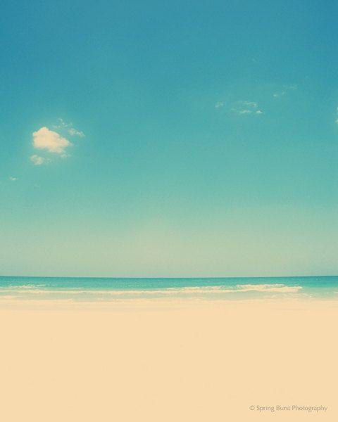 Beach photography - peaceful ocean sky sand clouds - retro summer nature photography - turquoise aqua blue decor - meditation art - 8x10 #fpoe