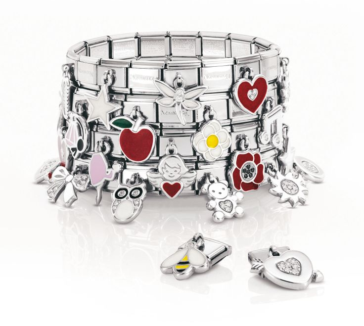 Nomination bracelet using great drop charms. Like our Facebook page to keep updated with the latest designs: https://www.facebook.com/InutiDesignerJewelleryLtd