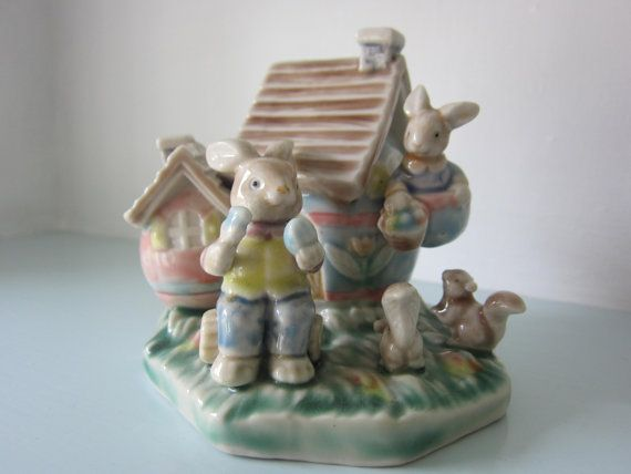 Vintage rabbit figurine collectible ceramic by thevintagemagpie01