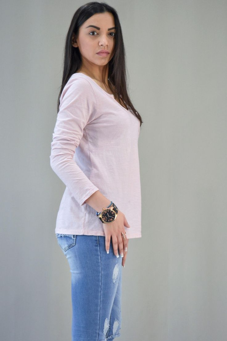 Γυναικεία μπλούζα με βε MPLU-0899-pink | Μπλούζες > Μπλούζες και Ρόζ