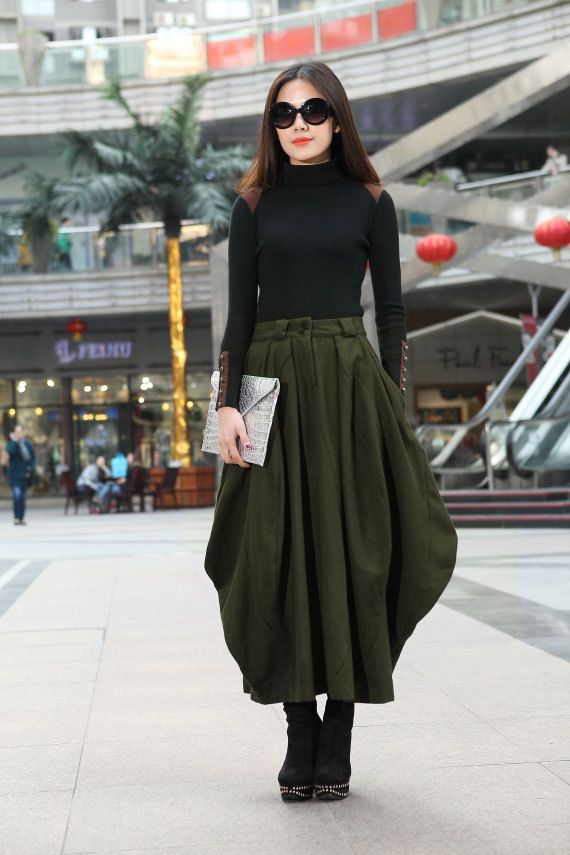 Baggy Wool Skirt Army Green Skirts Spring/Winter Maxi Skirt Women Long Skirt Custom Made-WH127,S-XL