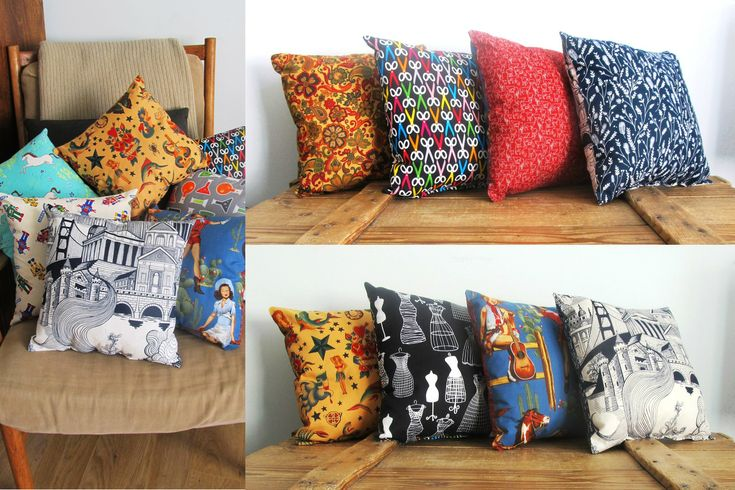 Cushions in fun fabric combinations