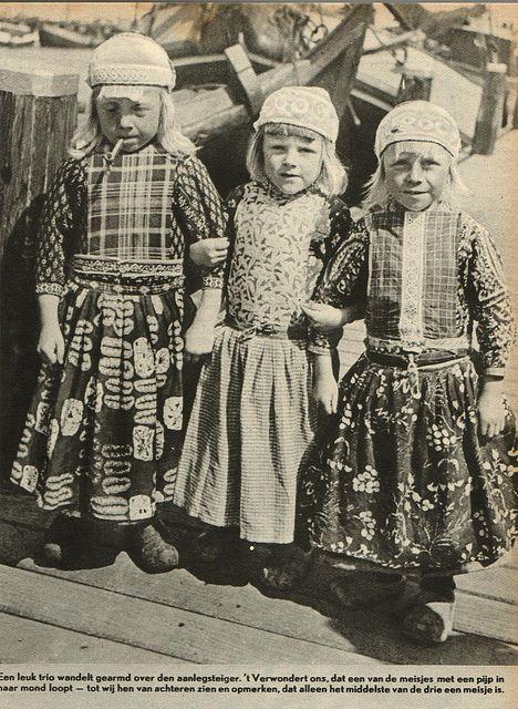 Marken. Boys 1 - 5 years old wear still a skirt.