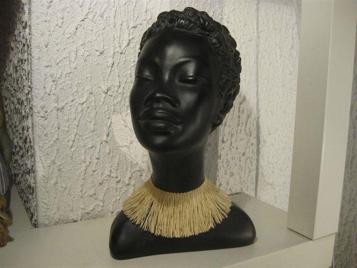 Annons på Tradera: Retro Afrikansk Kvinna Gino Manca Fint skick