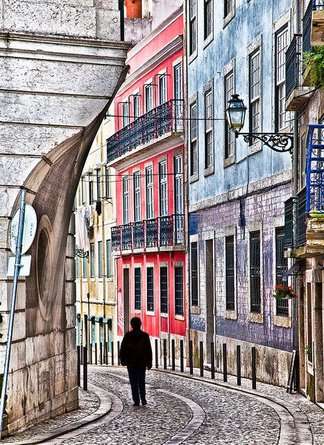 Alfama: narrow streets in the old neighborhoods . Lisbon Portugal