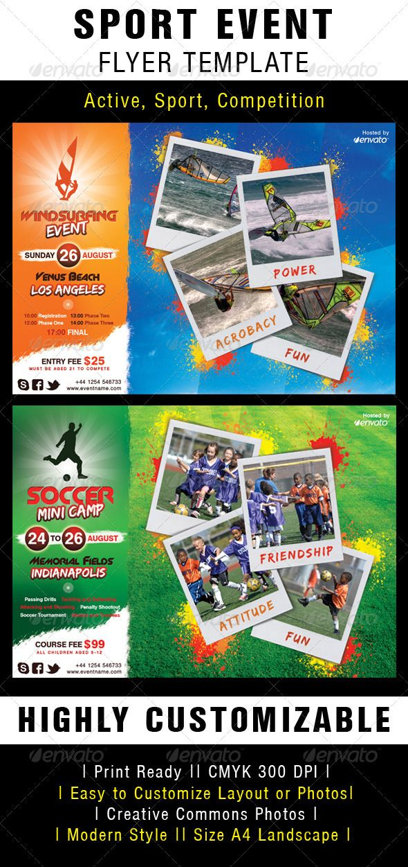 sport event flyer template photoshop psd polaroid sport