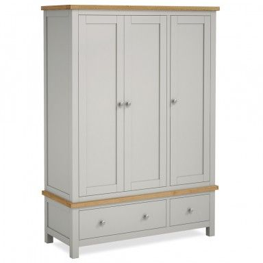 Farrow Painted Triple Wardrobe With Drawers Roseland Furniture