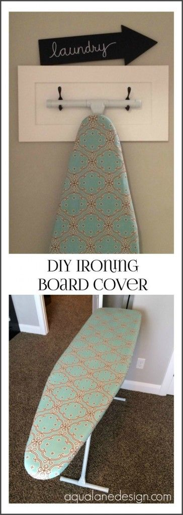 DIY Ironing Board Cover... love the hanger!