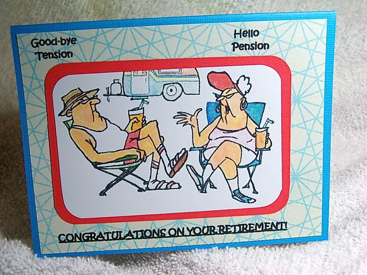"""Retirement card handmade says """"goodbye tension, hello pension, congratulations on your retirement"""". Blank inside, stamped image of couple. by MooseRiverCardShop on Etsy"""