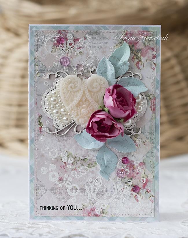 Ретро, скрапбукинг открытка к розовой свадьбе