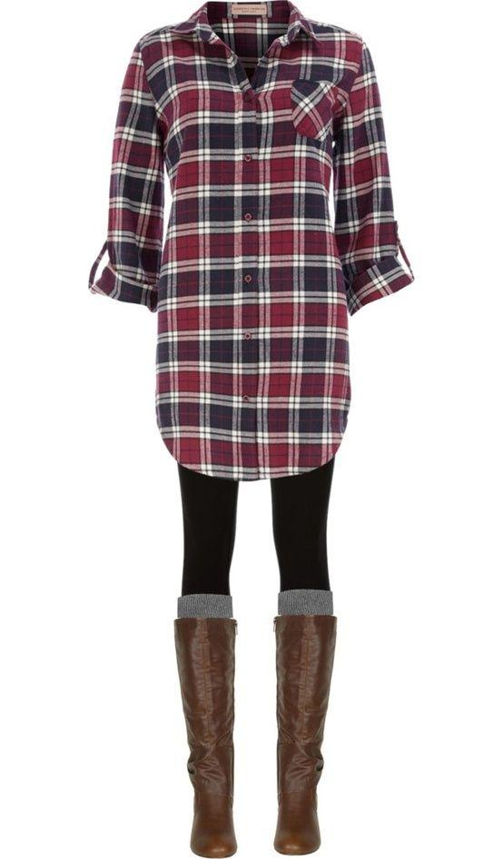 Long plaid boyfriend shirt, leggings, knee socks and boots. Looks soooo comfy!!