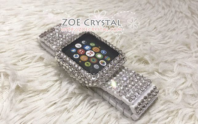 cheaper 1bc44 677f7 Apple Watch BEDAZZLED Bling Clear white Swarovski Crystal Case ...