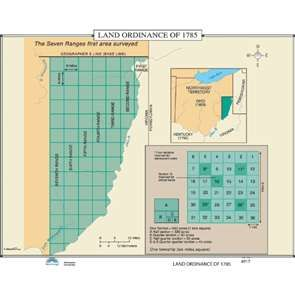 The Land Ordinance of 1785 passed by Congress on May 20th. of 1785 allowed for the sale of land in the Northwest Territory and set up standards for land sale that became Precedents. This map shows the seven ranges first surveyed. #Education #geography #teaching #classroommaps #historymaps